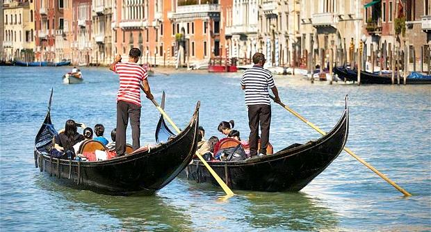 Two gondolas in Venice
