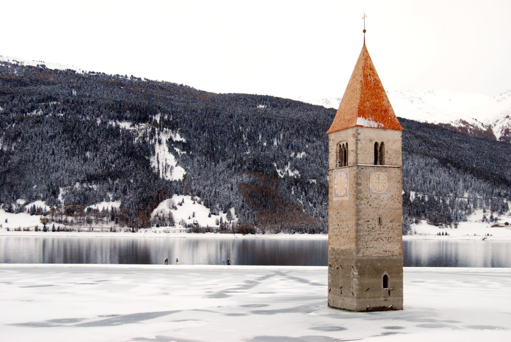 the curch of Curon in winter