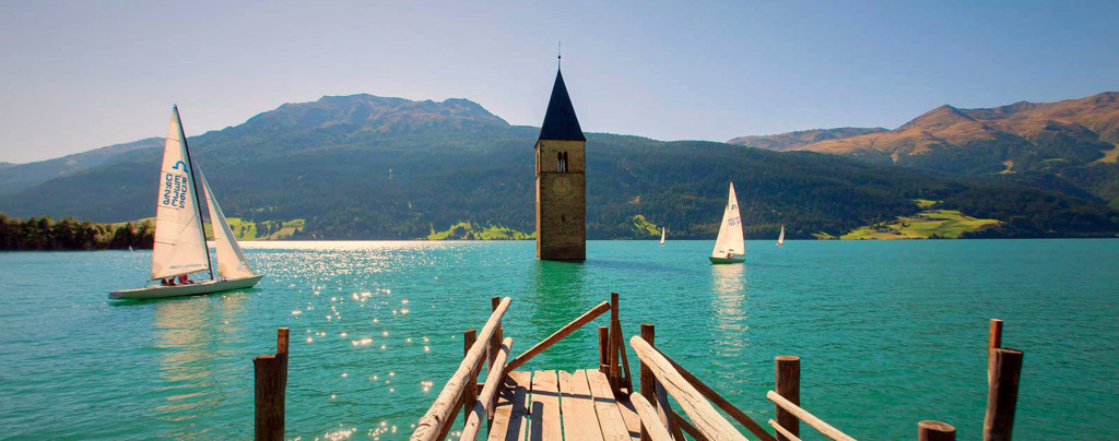 The church of Curon in the middle of the lake