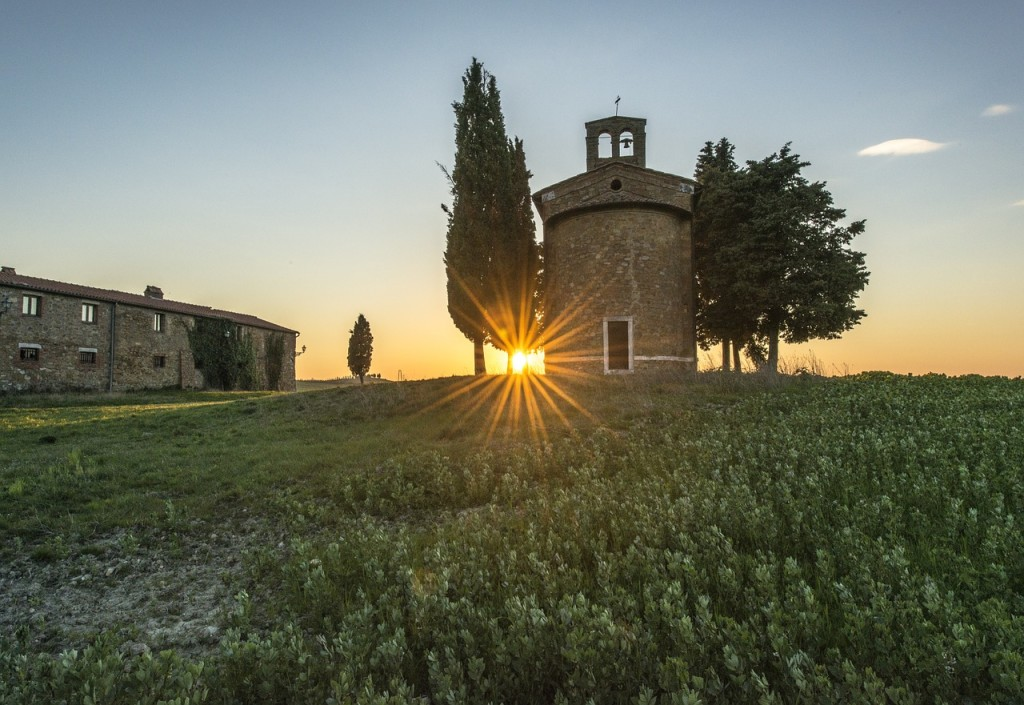 Field Landscape Tuscany Agriculture Italy Sunset